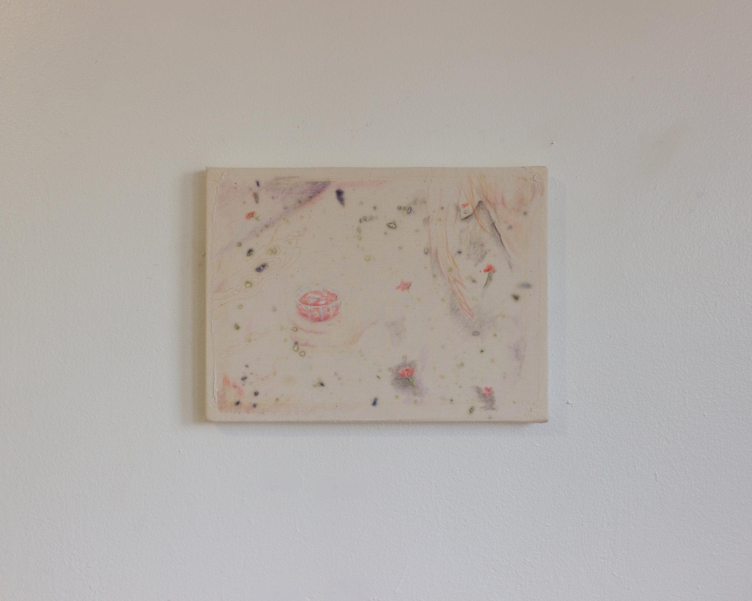 Alejandro Jiménez-Flores,  una noche maravillosa —a wonderful night , 2019, soft-pastels, flower petals dyes, and plaster on muslin, 9x11 in.