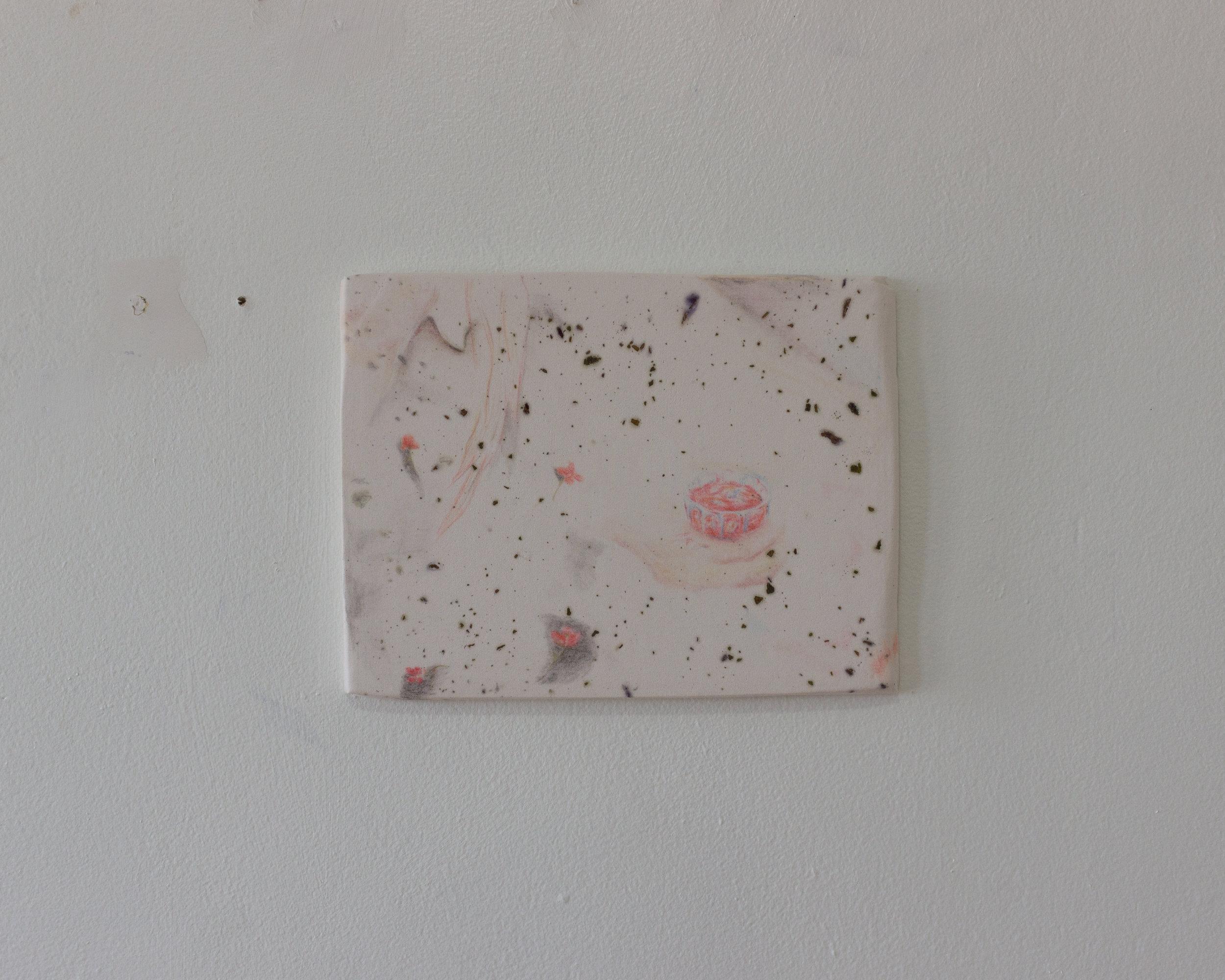 Alejandro Jiménez-Flores,  una noche maravillosa —a fantastic night , 2019, soft-pastels, flower petals, and plaster, 8 x 10.5 in.