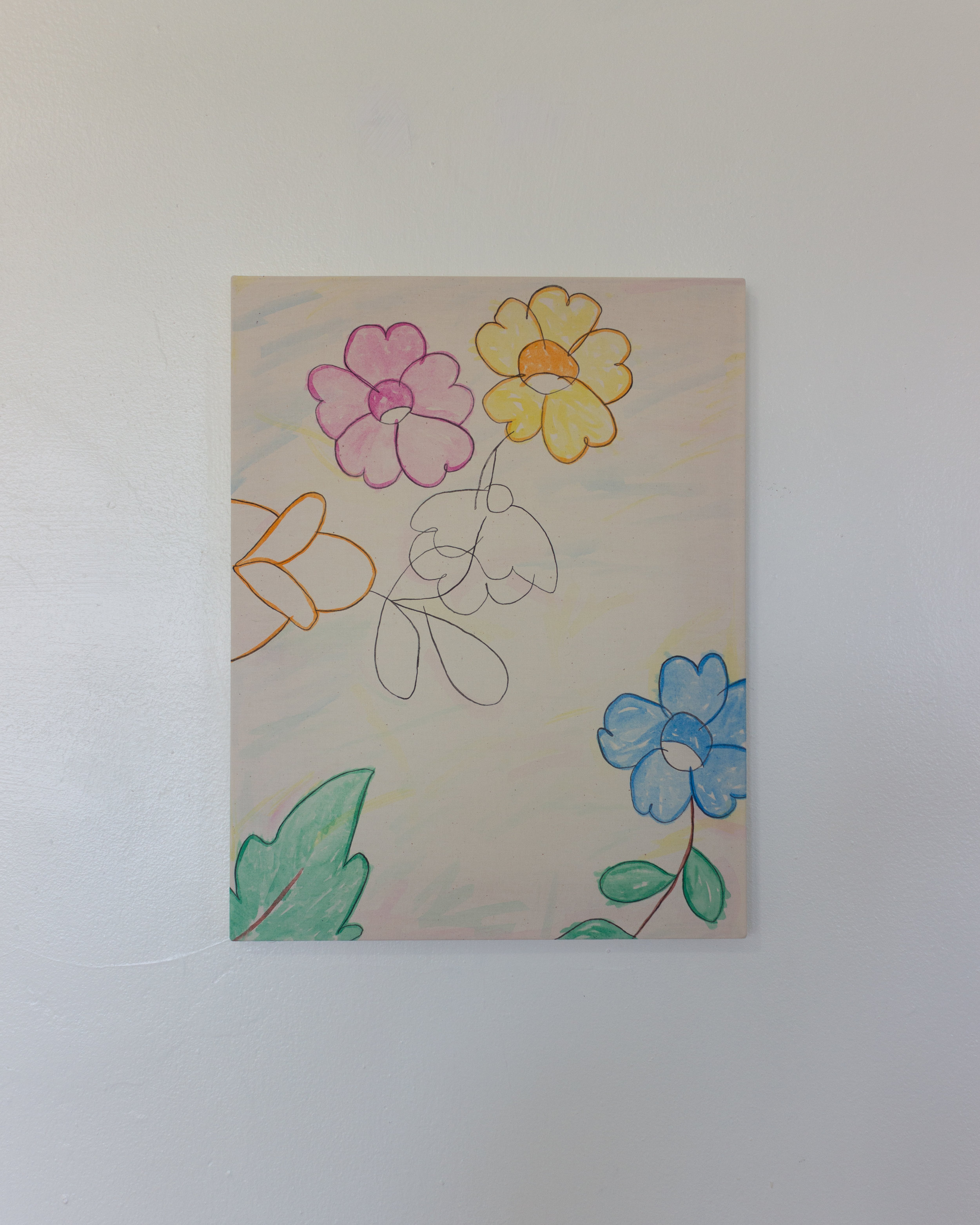 Alejandro Jiménez-Flores,  florencio  borrows the flowers my mom taught me how to draw as a child., 2019, Soft-pastels and acrylic gouache on muslin 14 x 18 in.