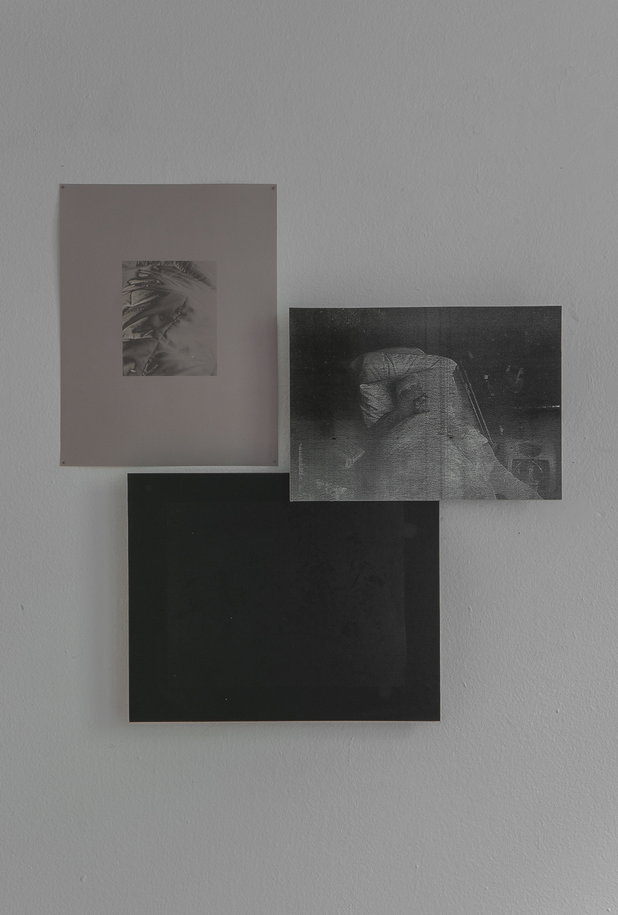 Daniel Hojnacki,  A Letter (I don't know if you could have known I was there with you),  Three silver gelatin lumen prints on dibond, 2019