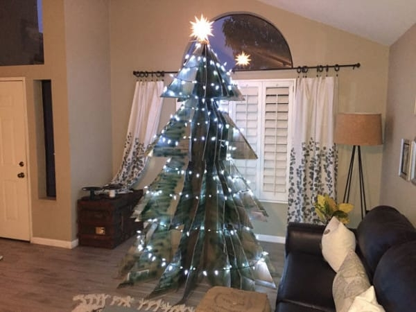 A Christmas tree made from old moving boxes.