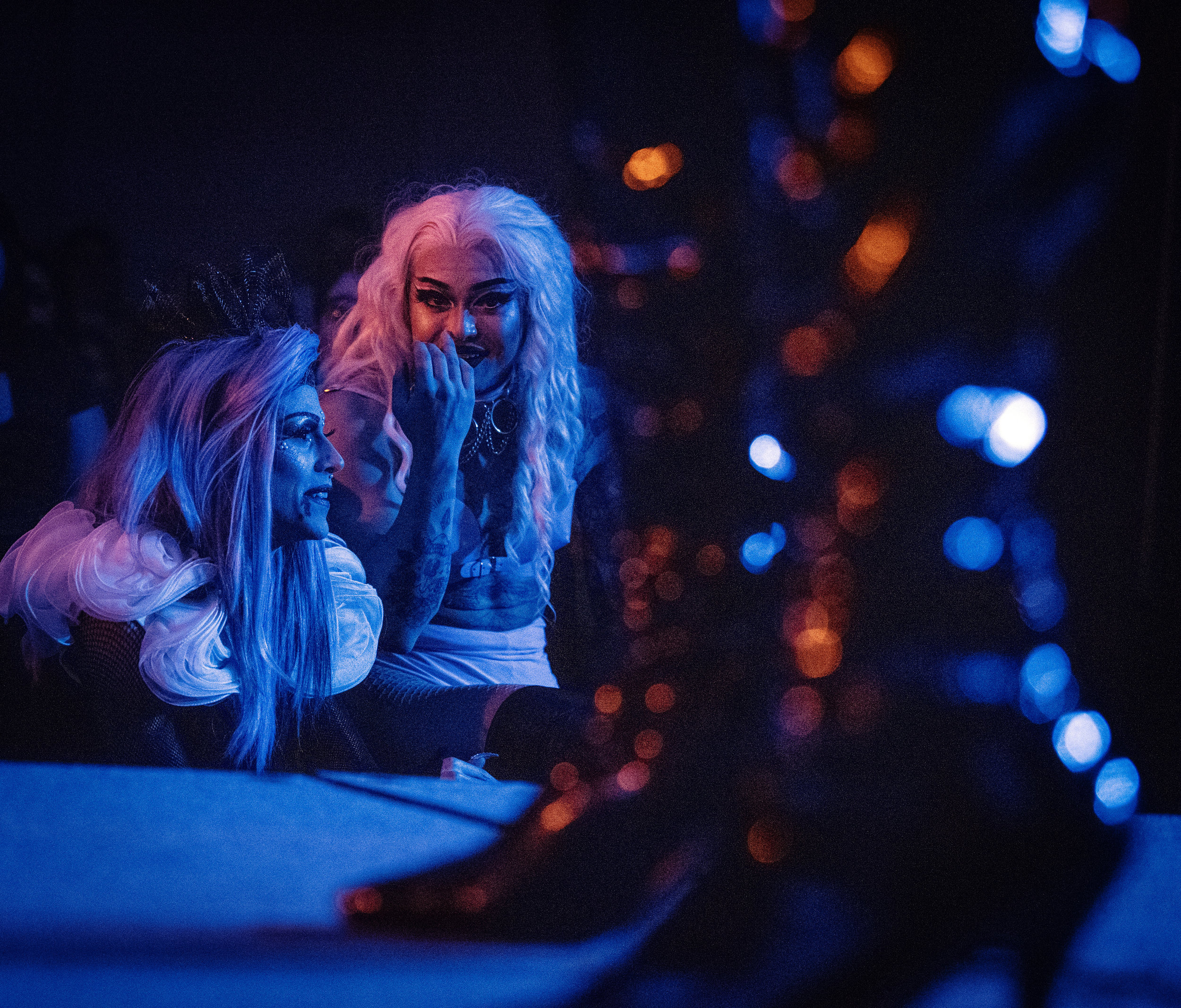 Wicker, who performed as Spectra Cosmos, watches Broussard perform as Miz. Thickums from the audience at the WKU Drag Show.