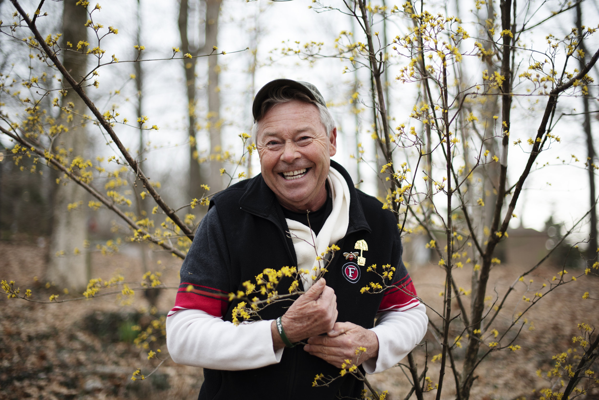 """Rickman Freeman is a horticulturalist at the Baker Arboretum in Bowling Green, Kentucky. """"These are our first witch hazel blooms of the year,"""" Freeman said."""