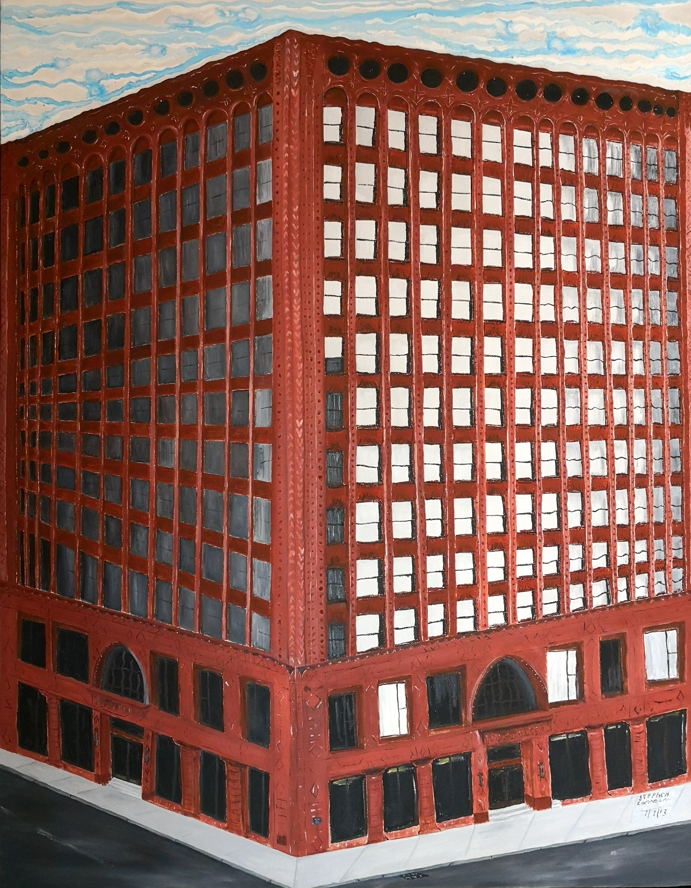 Stephen Coppola, The Guaranty Building, Oil on canvas, 28 x 22 inches (71.1 x 55.9 cm)