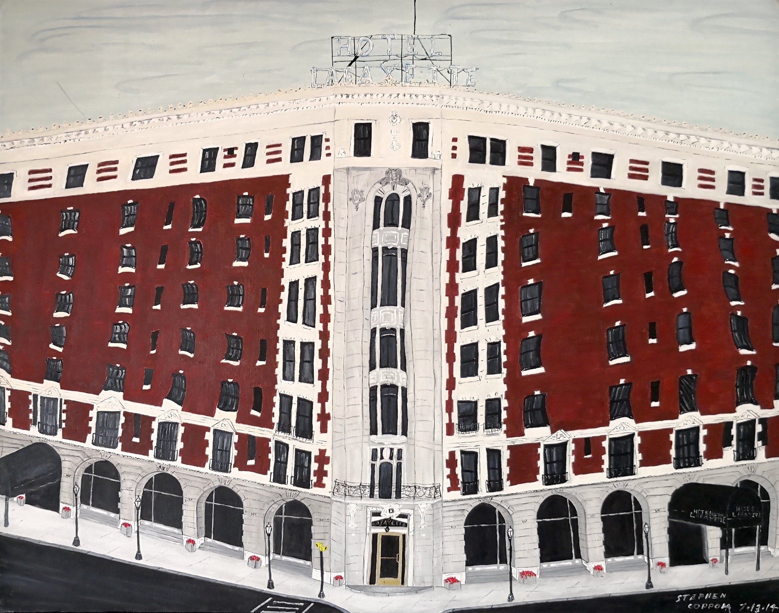 Stephen Coppola, Hotel Lafayette, Oil on canvas, 22 x 28 inches (55.9 x 71.1 cm)