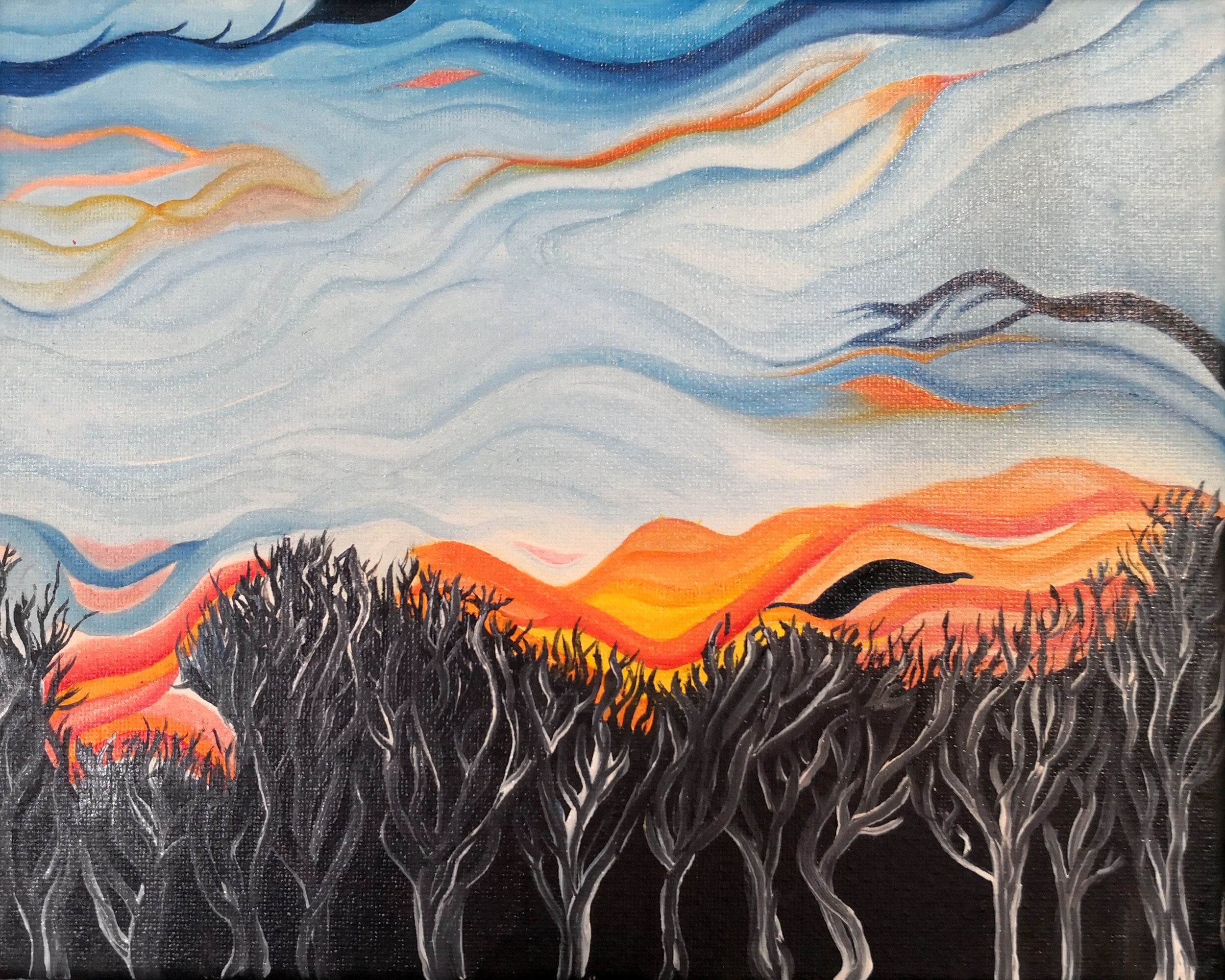 Stephen Coppola, Abstract Sunset, Oil on canvas, 8 x 10 inches (20.3 x 25.4 cm)