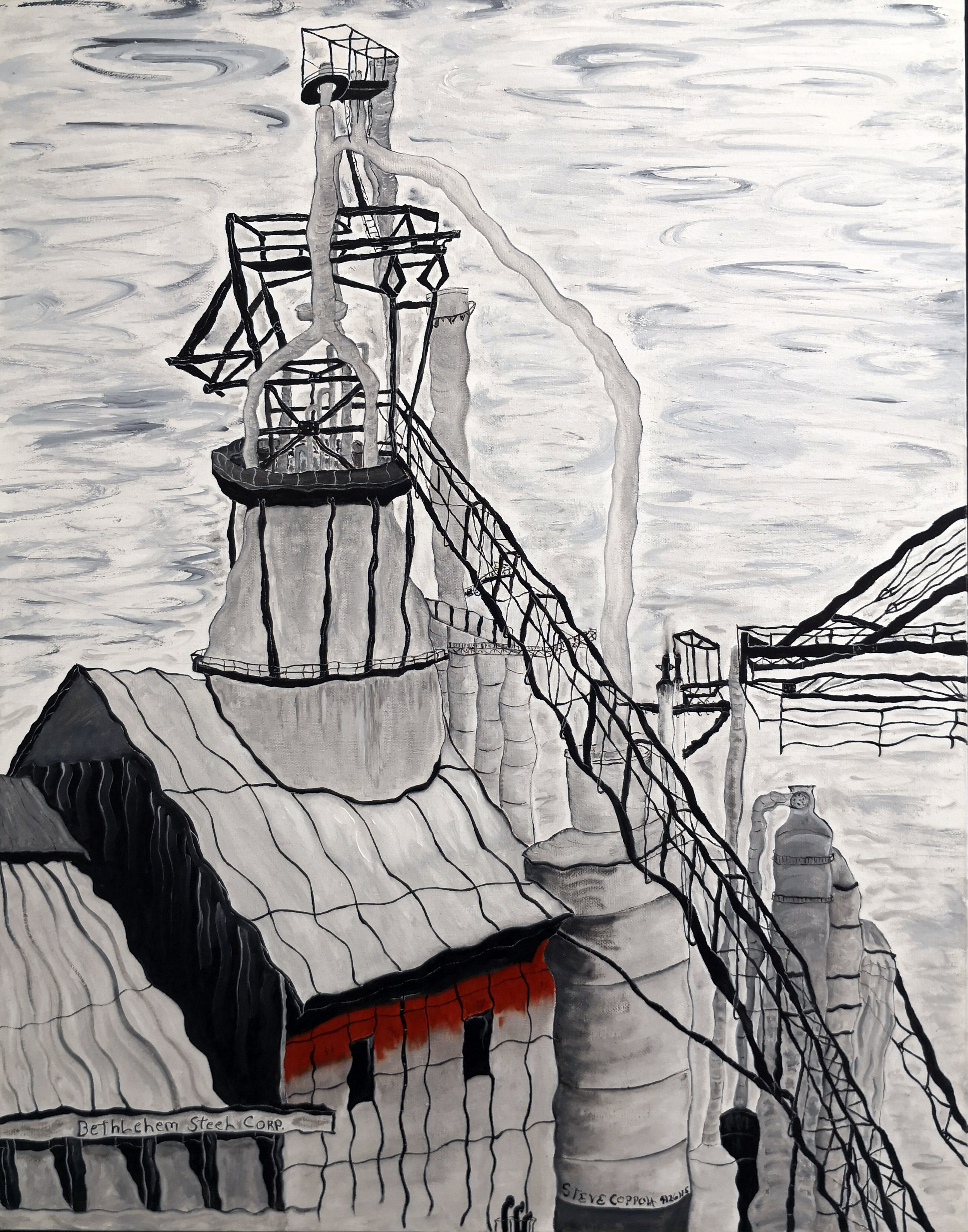 Stephen Coppola, Steel Plant, Oil on canvas, 28 x 22 inches (71.1 x 55.9 cm)