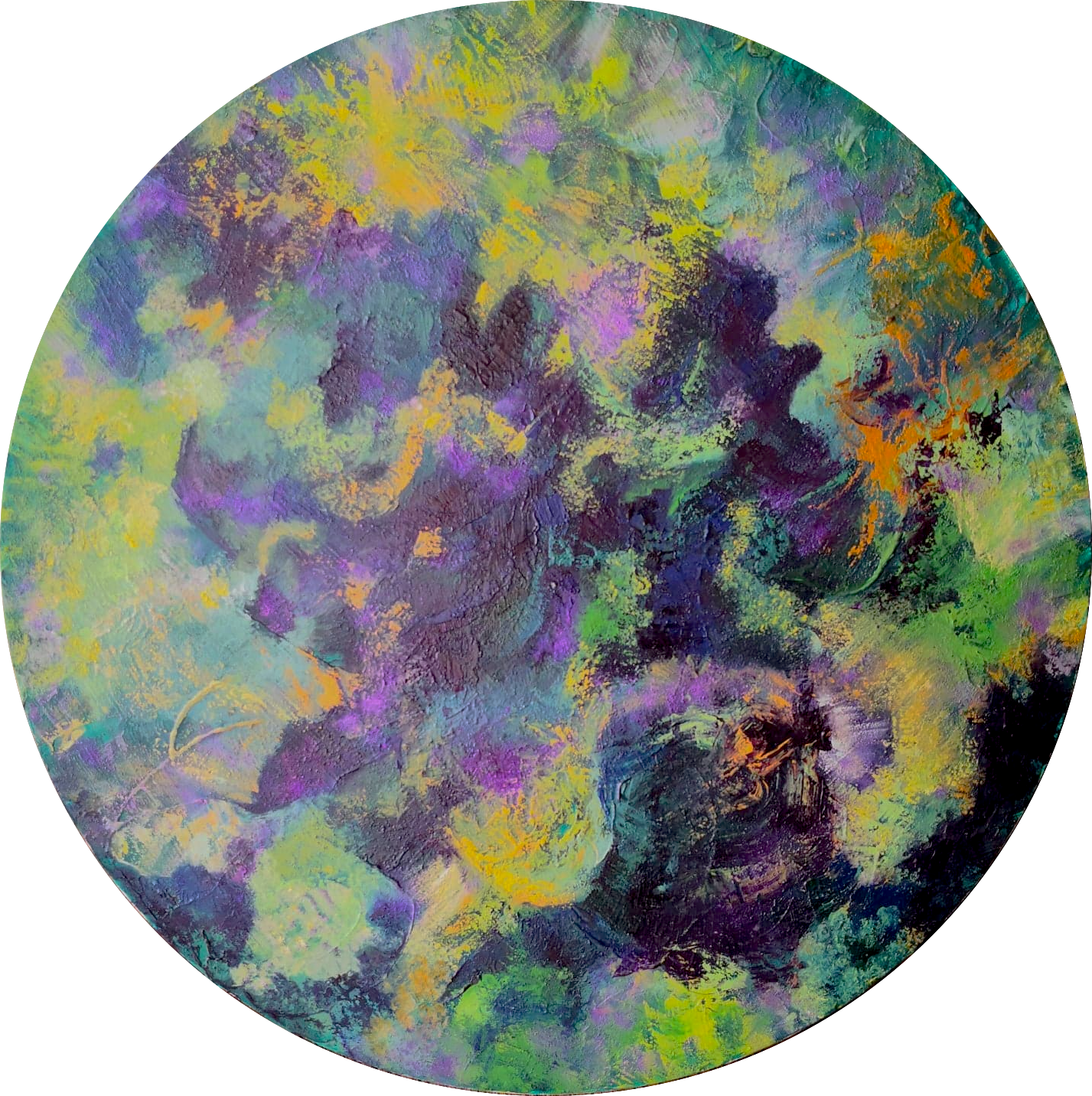 Heather M. Johnson, Shamaness, Acrylic on canvas, 20 inches diameter, $300.png