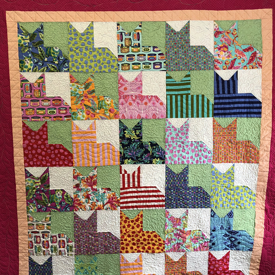 Cat quilt with Tula Pink fabrics