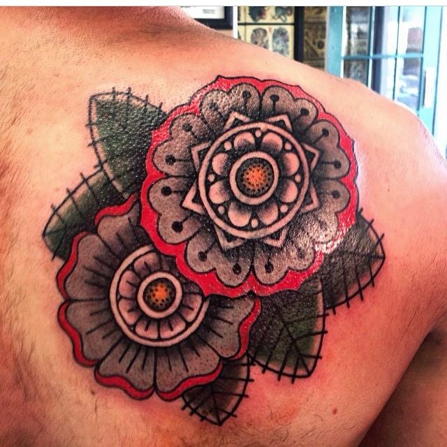 geometric flowers tattoo
