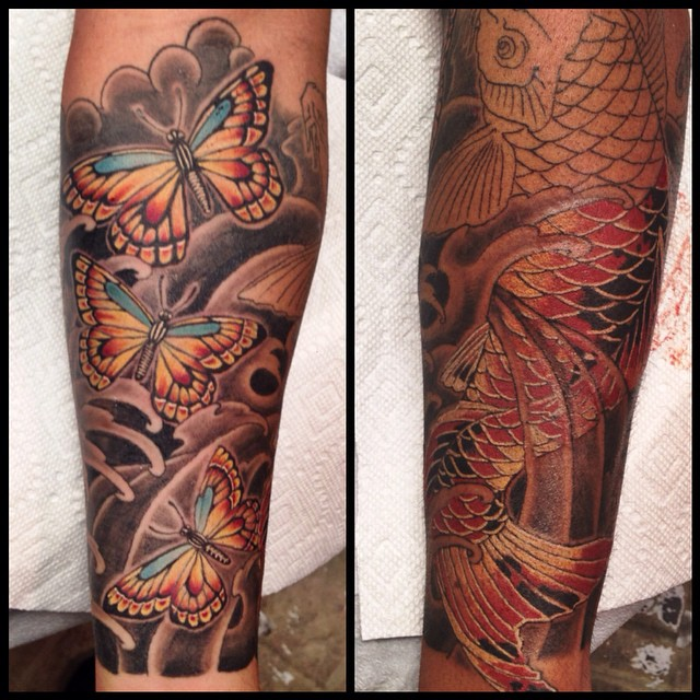 buttery and koi fish tattoo sleeves