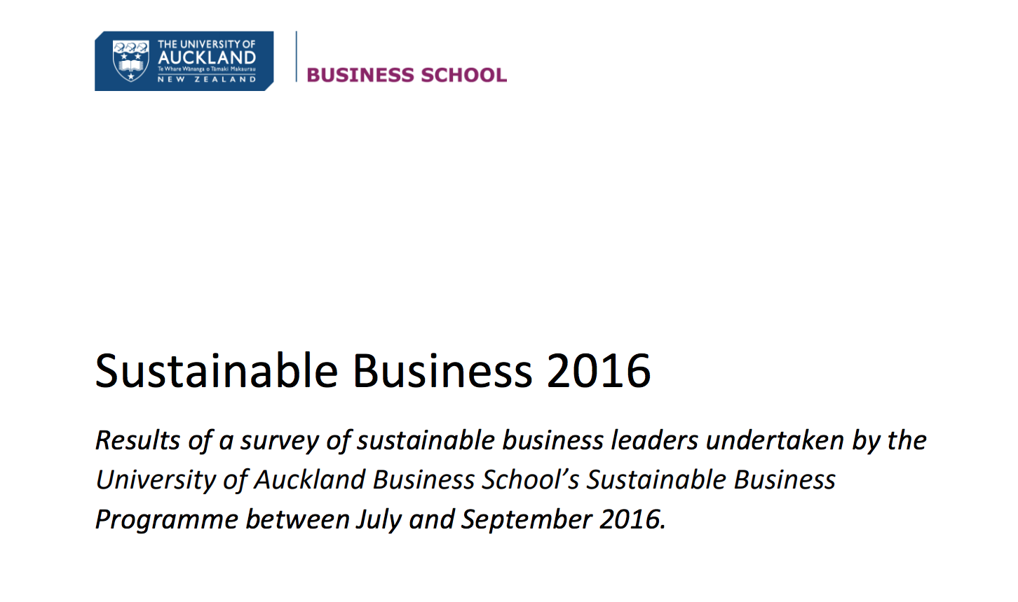 AUCKLAND UNIVERSITY REPORT ON SUSTAINABLE BUSINESS 2016