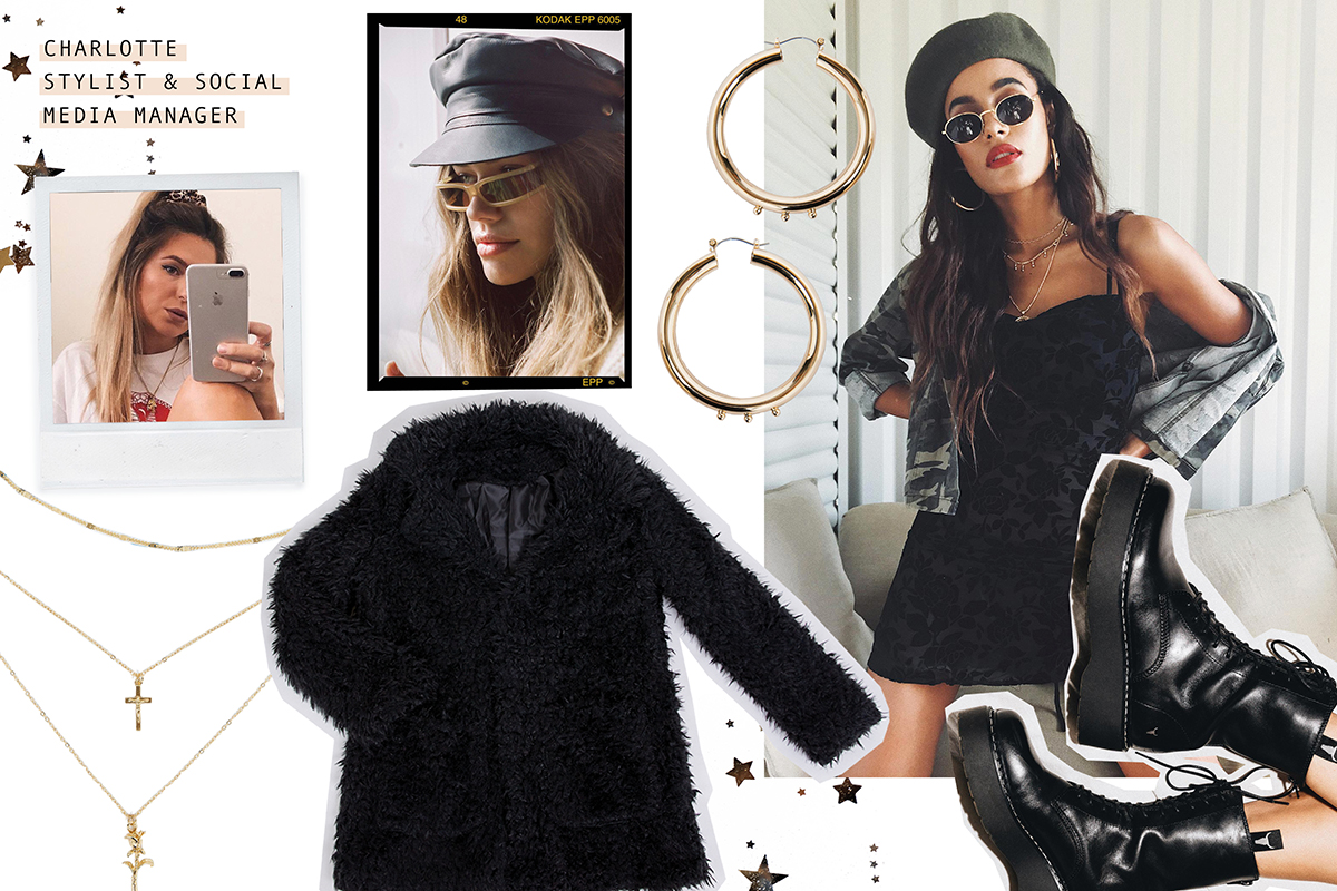 MIXED MESSAGES MINI DRESS // WINDSOR SMITH KNOX BLACK  // RAMONA REID JACKET BLACK  // MINC COLLECTIONS DUSK HOOPS GOLD  // LAYERED HOLY ROSE NECKLACE