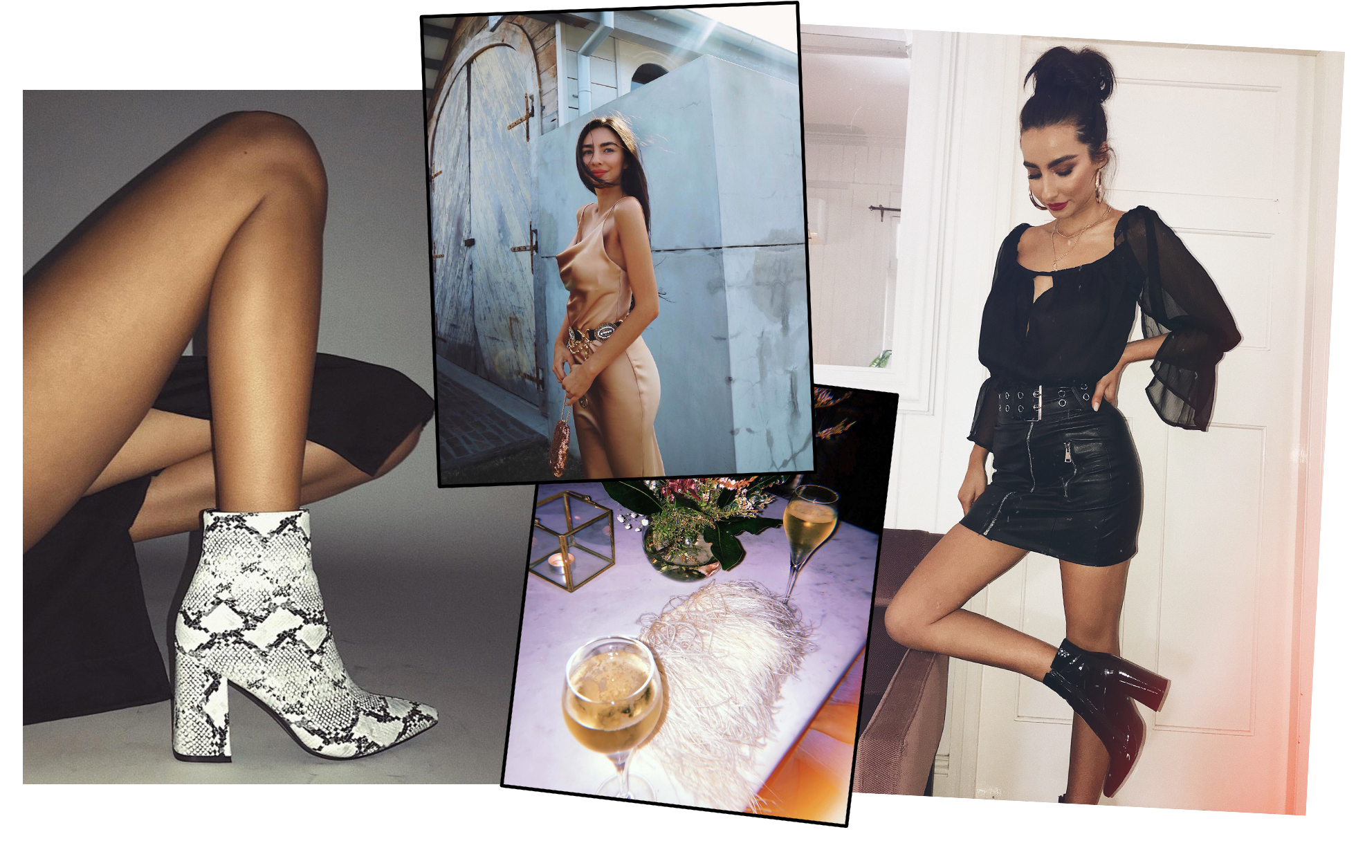 THERAPY SNAKE ALLOY BOOTS  // BETTA VANORE MAXI DRESS CHAMPAGNE  // LIONESS RICHIE OFF SHOULDER TOP  //  T-BIRD MINI SKIRT