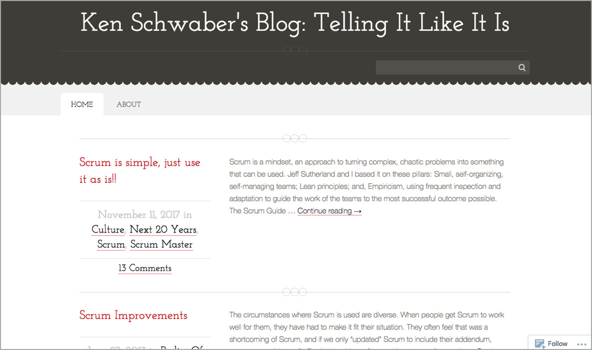 Blog by Ken Schwaber, co-creator of Scrum