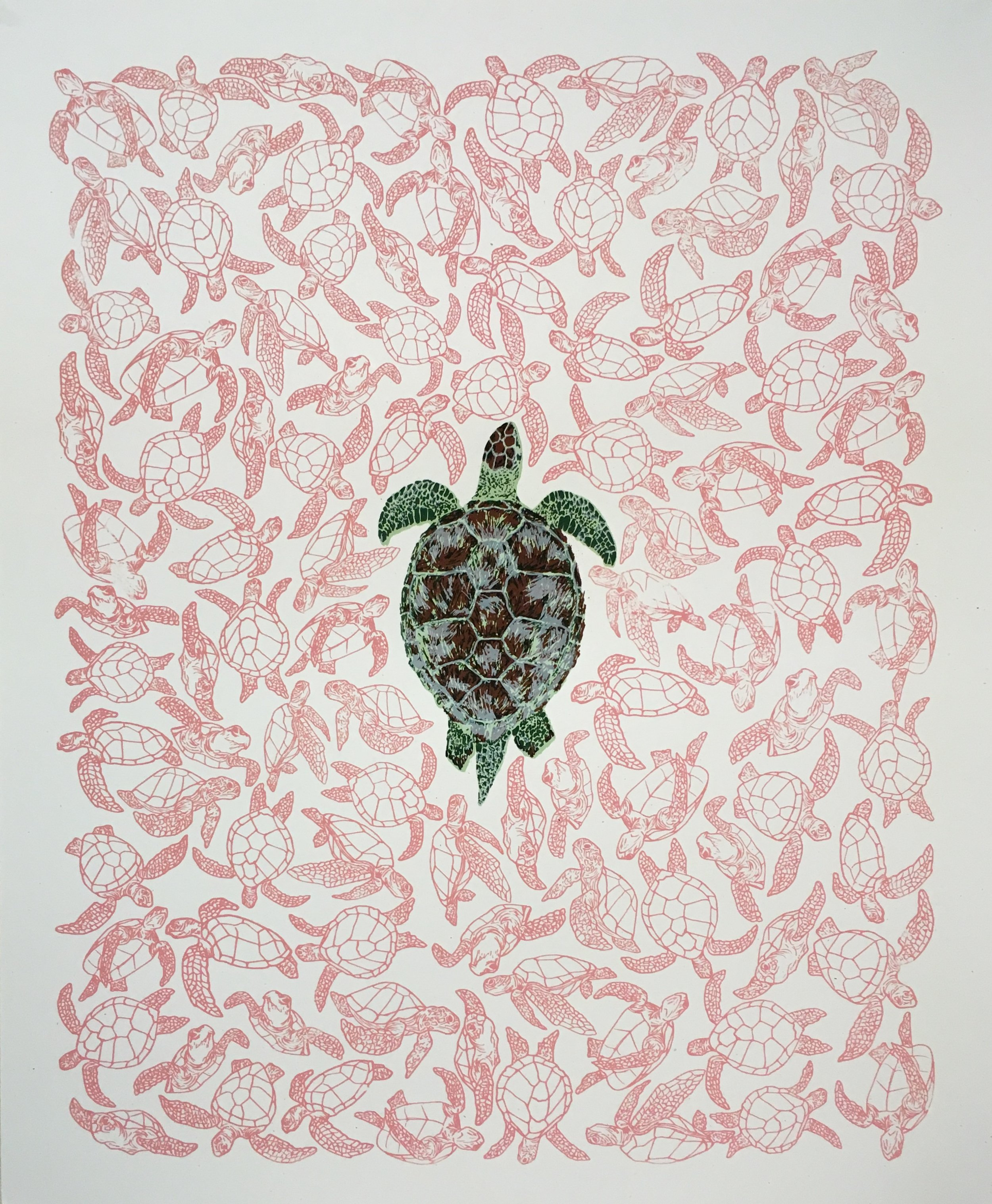 99°, 99% by Yeisy Rodriguez is a five-color screen print, depicting sea turtle populations in the warmer, northern beaches, with only one male turtle in the center, surrounded by 99 female turtles.