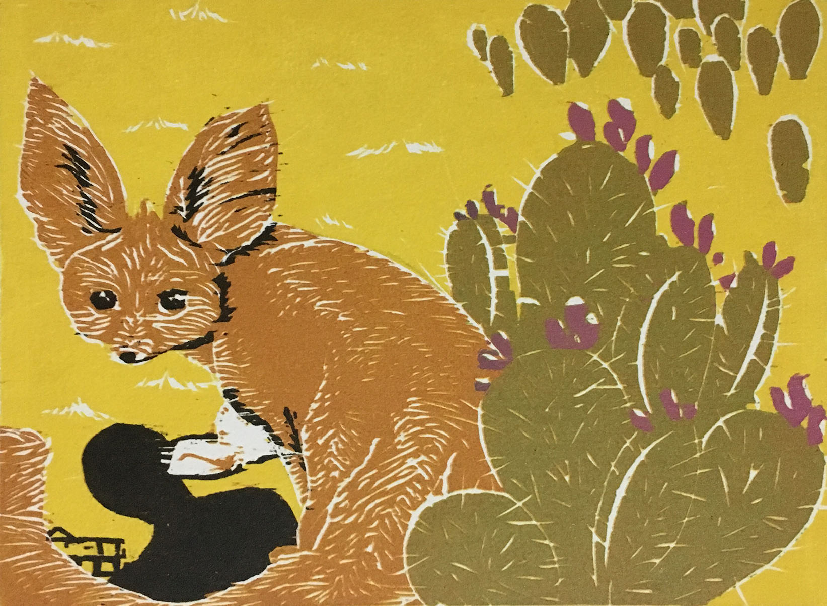 There's a Catch  by Yeisy Rodriguez is reduction woodcut depicting a fennec fox about to be captured. The fennec fox is not considered endangered but is affected by pet and fur trade.