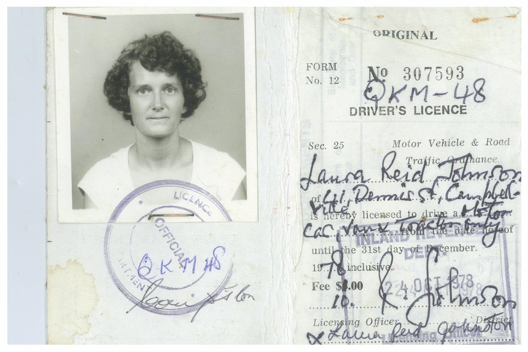 Guyanese Drivers License of Laura Johnston Kohl. Photo courtesy of Laura Johnston Kohl via Peoples Temple/Jonestown Gallery (Flickr)