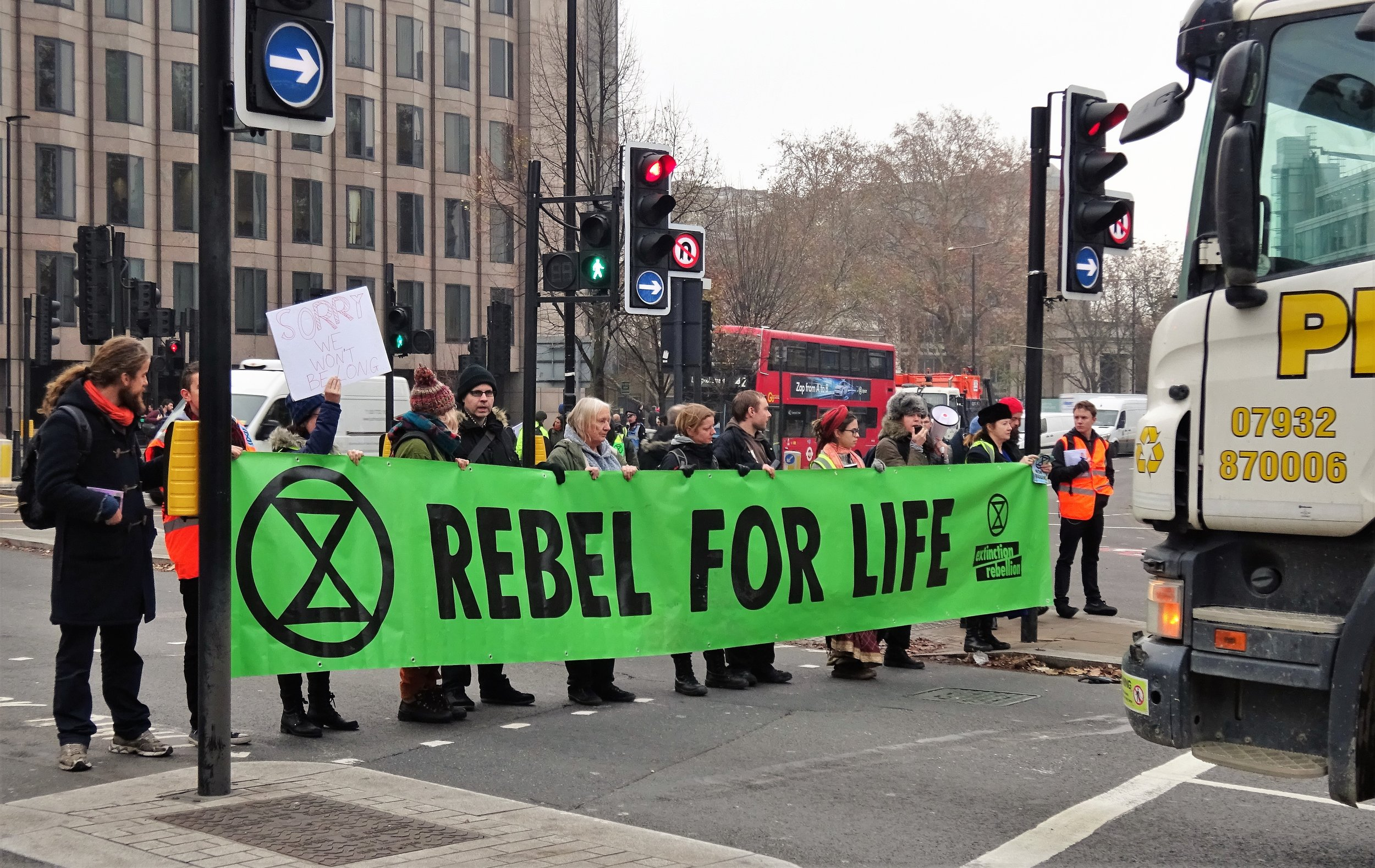 Extinction Rebellion Protest in Tower Hill, London on November 23 2018