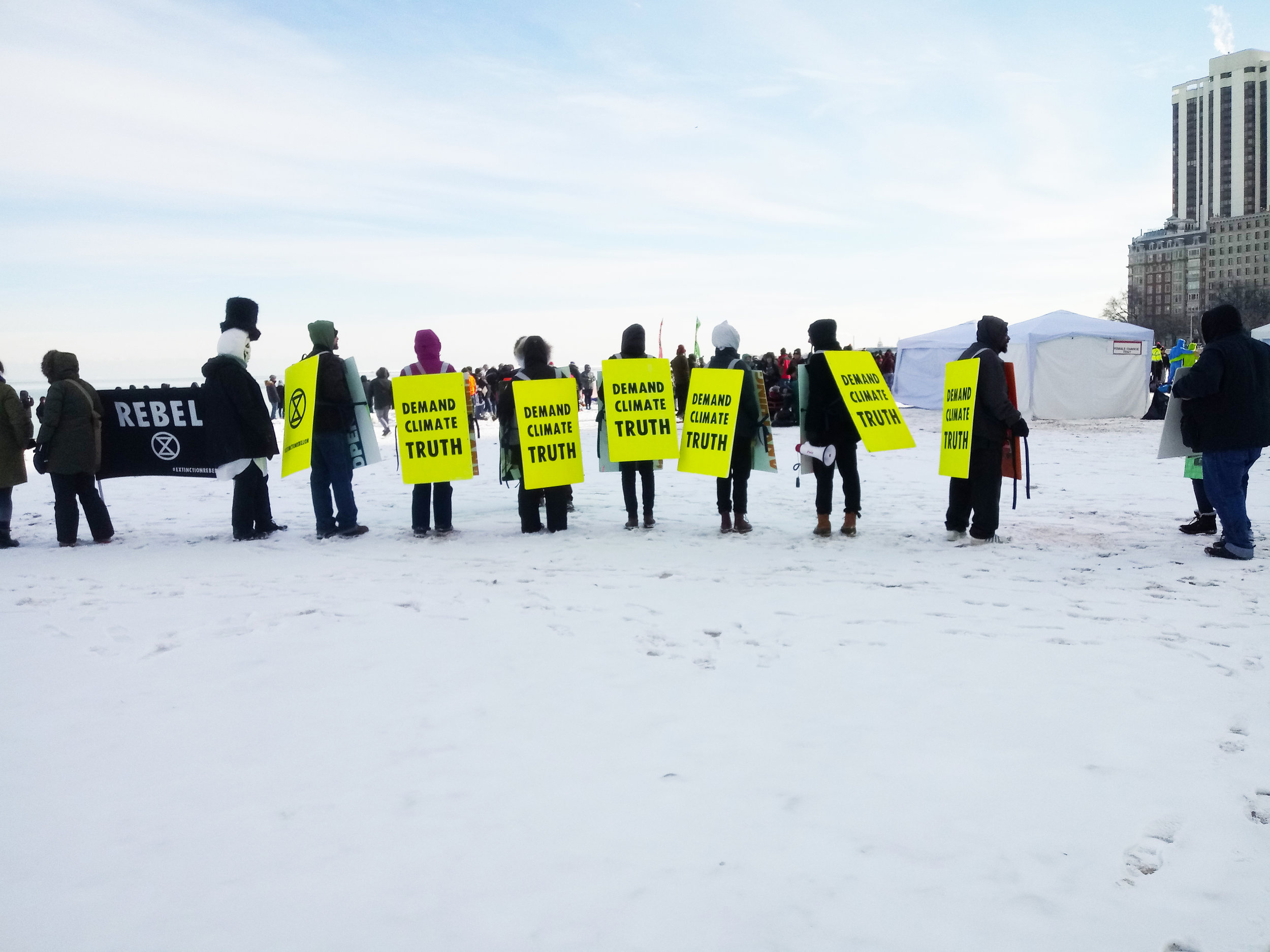 Extinction Rebellion Chicago's first day of protest on January 29, 2019