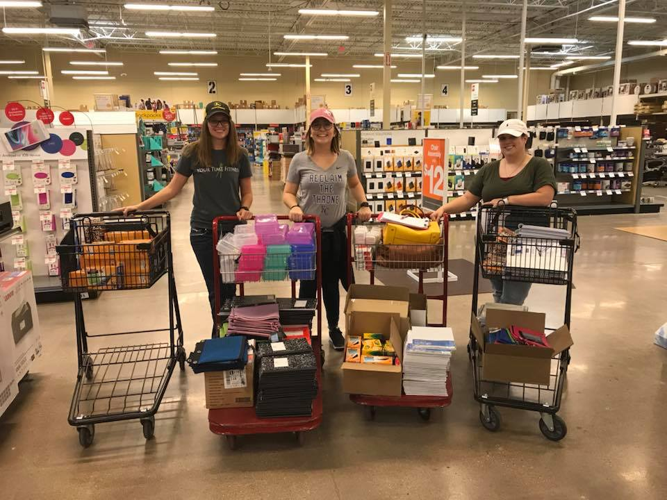 (L-R) Better Stamford School Supply Drive Organizers Jessica Decker, Emily Burds, and Kassidy Martin at the Abilene Office Depot.