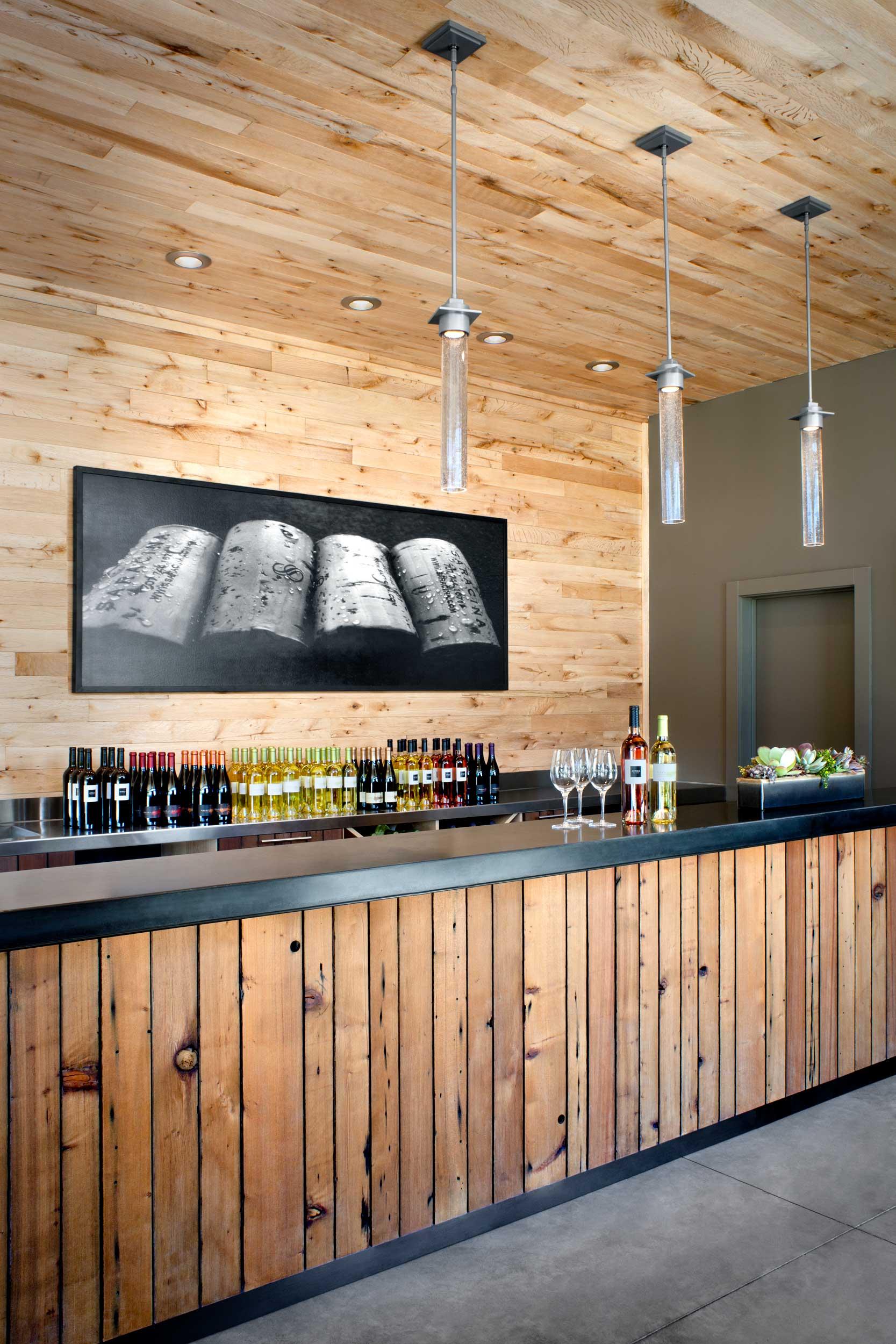 Tasting Room Bar of reclaimed redwood