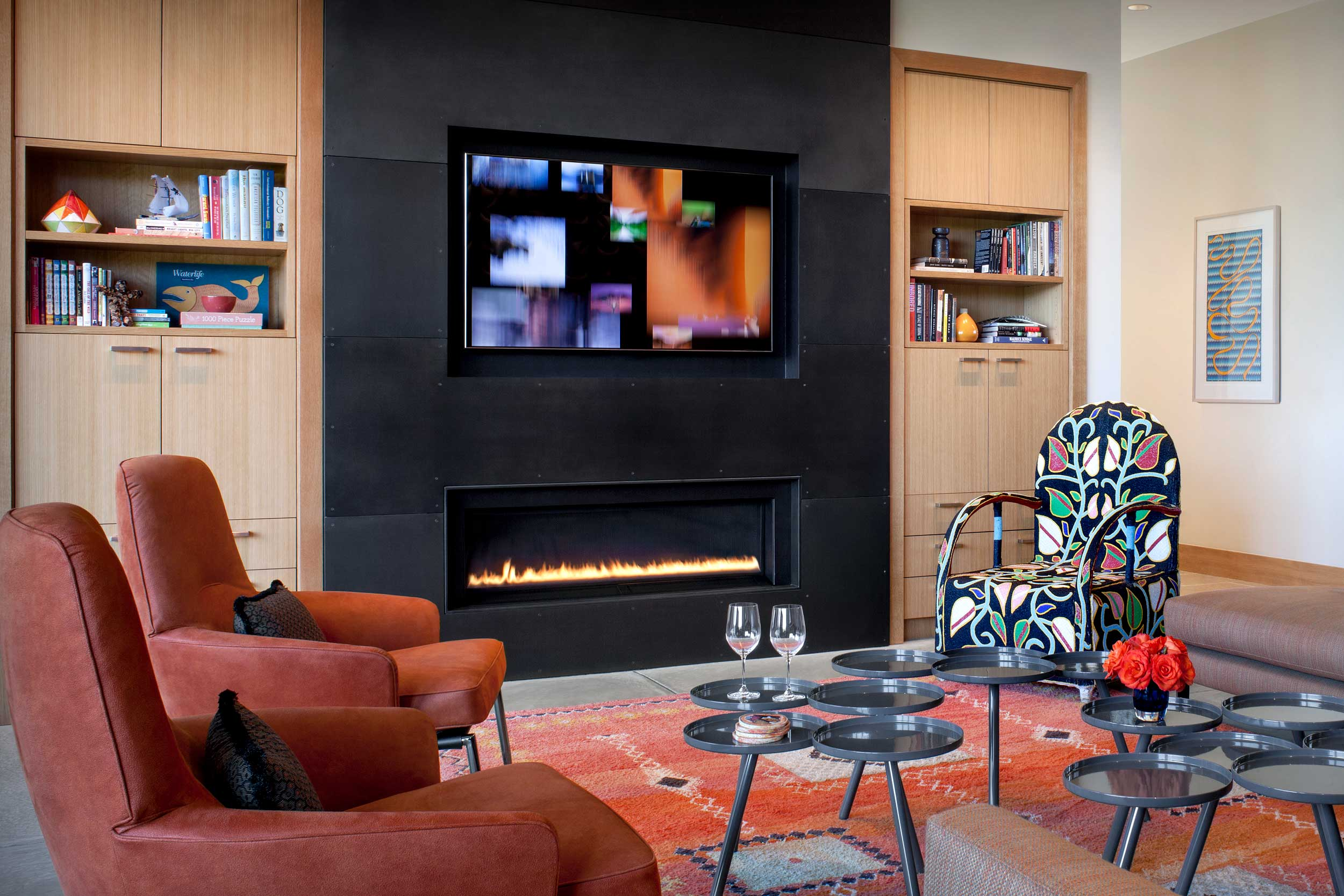 View of Fireplace and Media Wall in Great Room