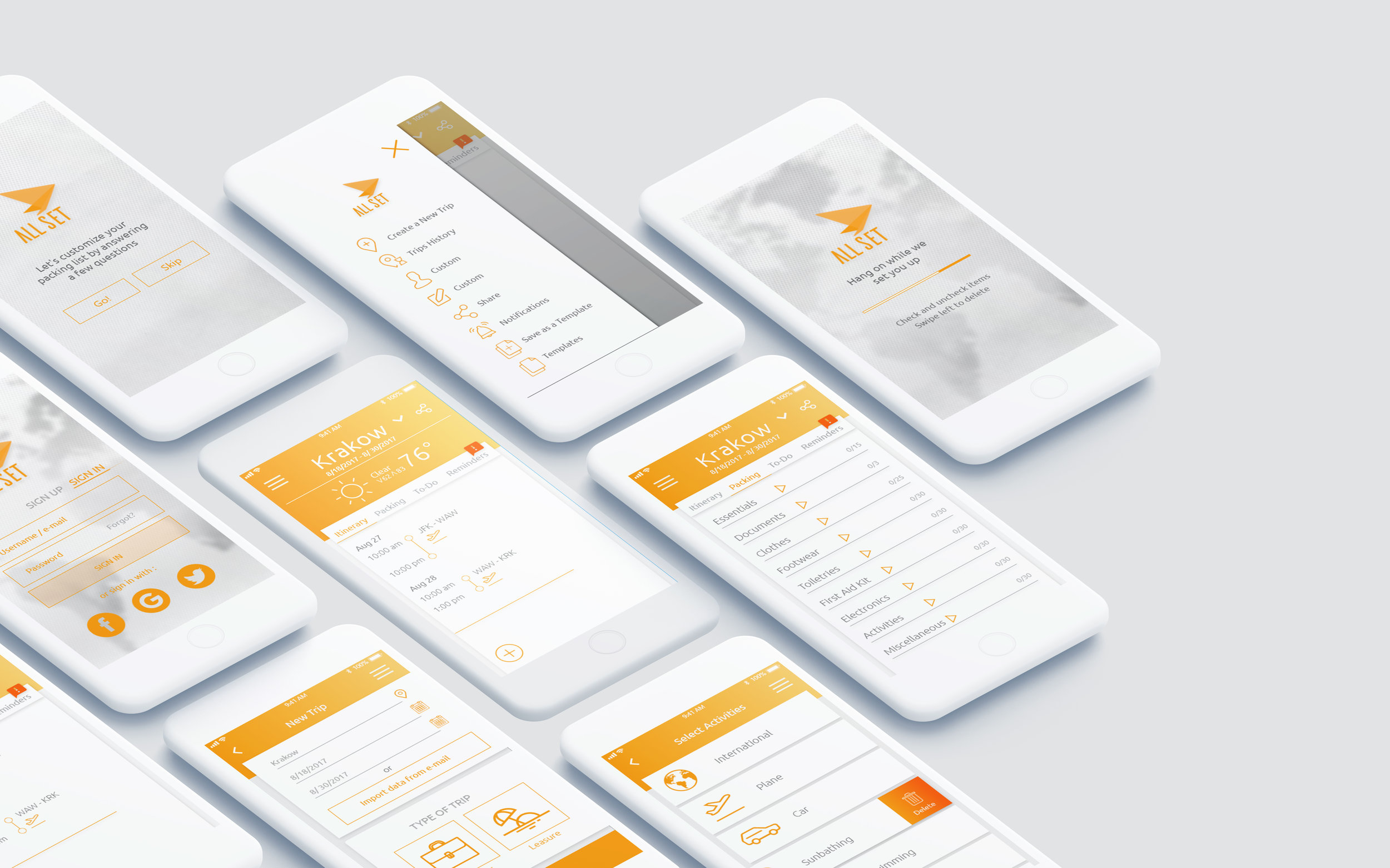 ALL SET MOBILE APP - UX/UI DesignDeliverables: User Research, Competitor Analysis, Personas, CJM, User Flow, Sketches, Lo-Fi & Med-Fi Wireframes, Interaction Map, Animated Prototype, User Testing