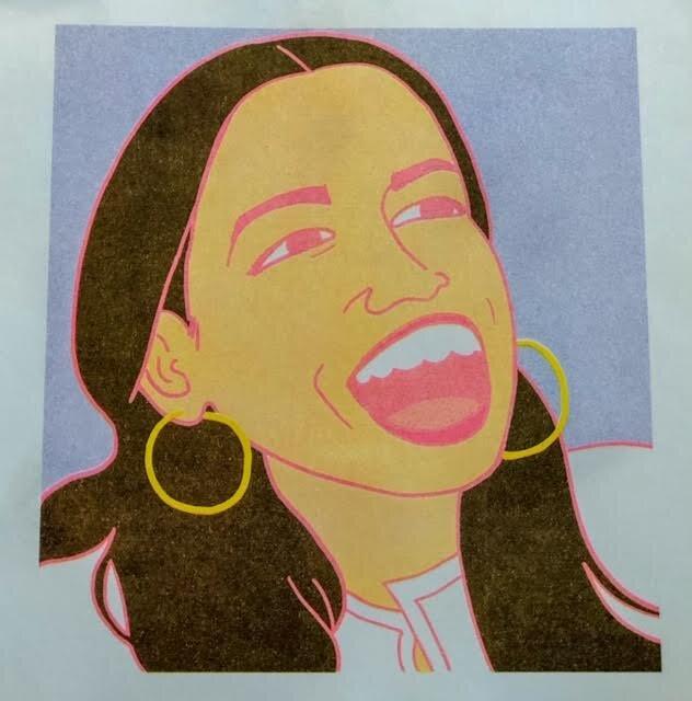 Risograph print of Representative Alexandria Ocasio-Cortez by Bronx artist Steph Guez. Find her art  here .