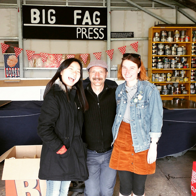 Audrey Qin from China, Big Fag Press boss Diego Bonetto, and Adelaide comic book artist Gina Chadderton at the Big Fag Press, mid-2016.