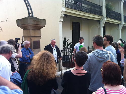 Artist Ian Milliss (active community member and artist around the time of the demolition rebuilding of Victoria St), discusses the great local character Mick Fowler (last resident to stay in Victoria St among considerable ongoing violence from developers)near his memorial plaque at the Butler stairs.