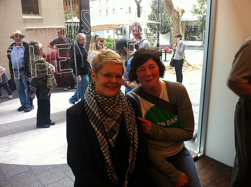 City of Sydney Councillor Marcelle Hoff and resident Stacey Miers at The Cross Arts Projects launch
