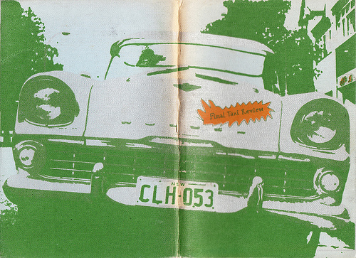 [Cover spread of  Final Taxi Review , Glandular Press, Sydney University, 1981, edited by Stephen K. Kelen. Cover attributed to 'Drunk Persons'.]