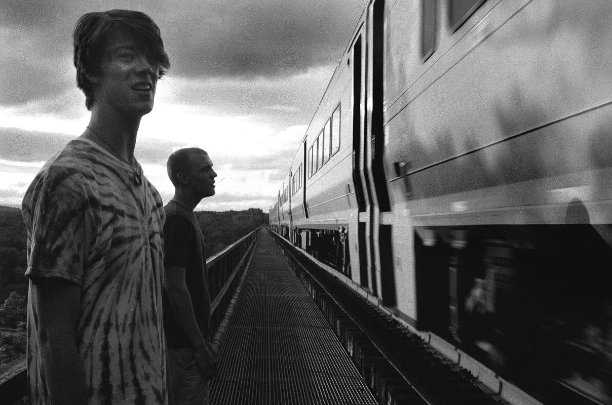 Paul & Brian next to a train.