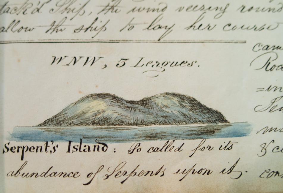 William Hodgson,   Journal of a Voyage  , bound volume of two manuscript logs, with 35 watercolor drawings, at sea, 1819 and 1821.