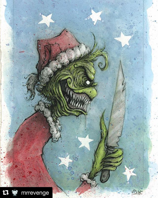 #ArtistShoutOut #Repost @mrrevenge ・・・ 🔪💚🎄 • Another of last years Christmas Horrors🖤 Original still for sale-I also have a very limited number of these Greeting Cards available, just listed in my Etsy shop. Link in my bio💚🖤♥️ • Additionally @ghoulishmortalschicago will have an exclusive run of this print this upcoming month-Stop by and pick one up!!😈🖤🎄 • #youreameanone #mrgrinch #thegrinch #happyholidays #grinch #oldart #drsuess #christmashorrors #ornaments #blackchristmas #thegrinchwhostolechristmas #christmasart #grinchart #creepycute #darkart #horror_sketches #thehorrorgallery #popeofhell_art #thehorrorhub #creepmachine #knives #tistheseason #😈