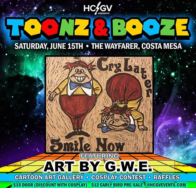 Featured Artist: @gwe_art !  Stop by & check out her woodwork & artwork in the Toonz & Booze Art Gallery along with 35+ other original art pieces created by handpicked local artists!! Tickets available at HCGVEVENTS.COM!