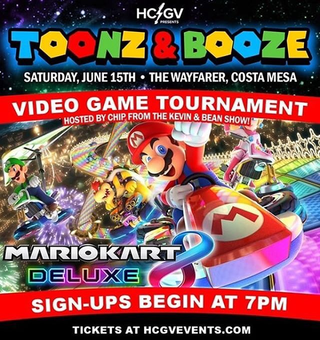 TOONZ & BOOZE MARIO KART DELUXE TOURNAMENT ON NINTENDO SWITCH taking place this Saturday @ The Wayfarer!  DOORS OPEN + TOURNAMENT REGISTRATION @ 7PM! ***We will only be accepting the first 16 sign-ups, so early arrival is highly suggested! Please note: You MUST be able to stay at the event until midnight to enter*** Do YOU have what it takes to be the 2019 Toonz & Booze Video Game Champ!? Come prove it!  Tickets Available @ HCGVEVENTS.COM