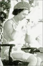 Queen Elizabeth II drinking kava in Fiji in 1953