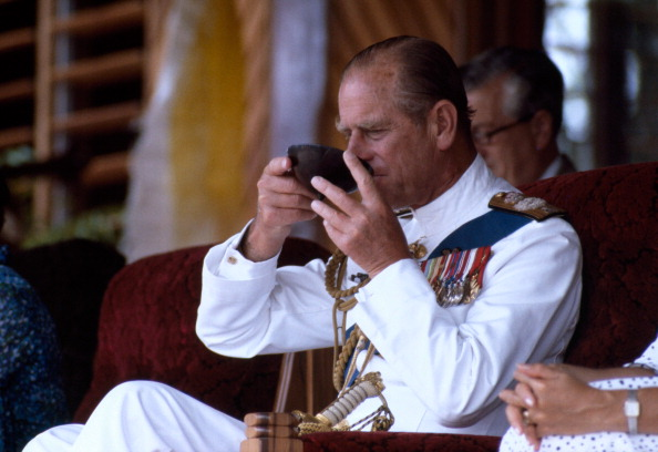 Duke of Edinburgh enjoying some kava in Fiji