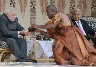 India's Prime Minister tasting kava in Fiji in 2016