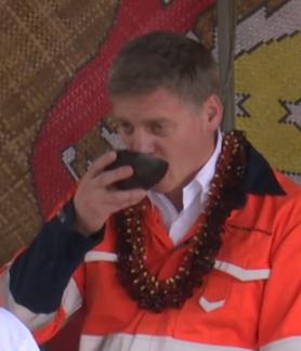 Bill English drinking kava in Samoa in 2017