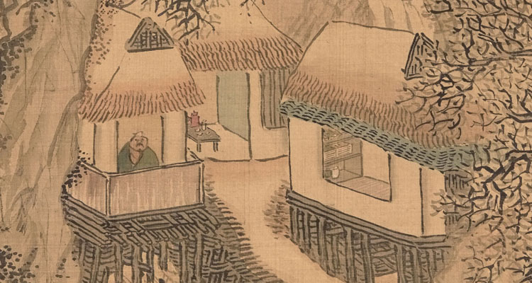 Yosa Buson (Japanese, 1716–1783), Thatched Retreat on Cold Mountain (detail), early to mid-1770s, hanging scroll, ink and color on silk. Courtesy of Mary and Cheney Cowles, L2017.67.39