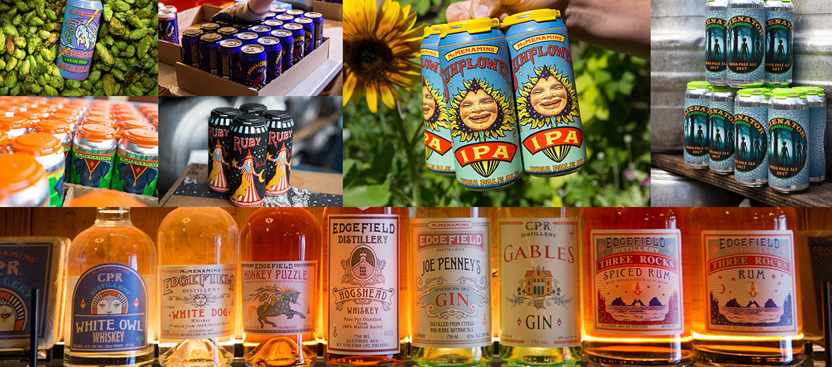 Handcrafted - ALES • WINES • SPIRITS • CIDER • COFFEEMcMenamins currently operates 27 breweries, one winery, two distilleries and one coffee roasting facility.
