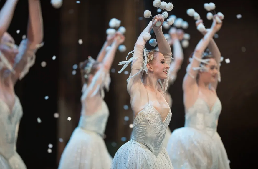 Jessica Lind and OBT dancers as snow in Oregon Ballet Theatre's 2017 production of George Balanchine's The Nutcracker®. Photo Yi Yin