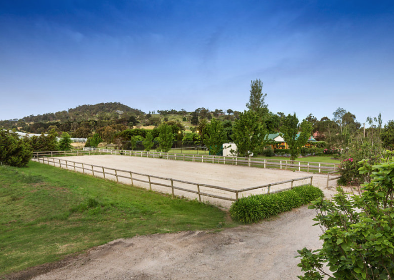 The Arena - Where the training begins. From lessons through to horse training and everything in between, it all takes place on our well surfaced, fenced, 60x20m, floodlit sand riding arena. If you're not feeling the sand, we also have a jump paddock with poles and wings for your convenience.