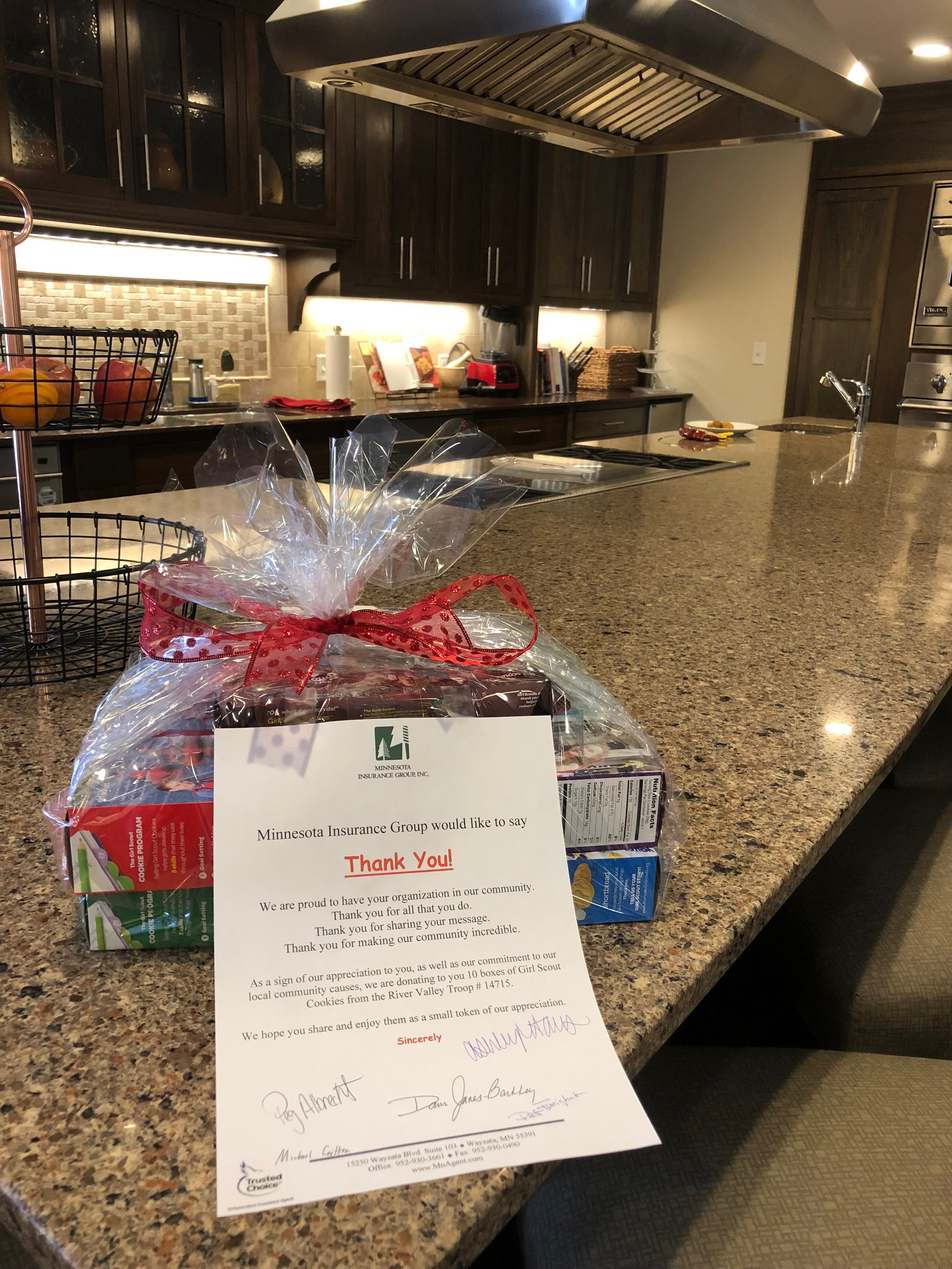 Donating Girl Scout cookies to Gilda's Clubhouse