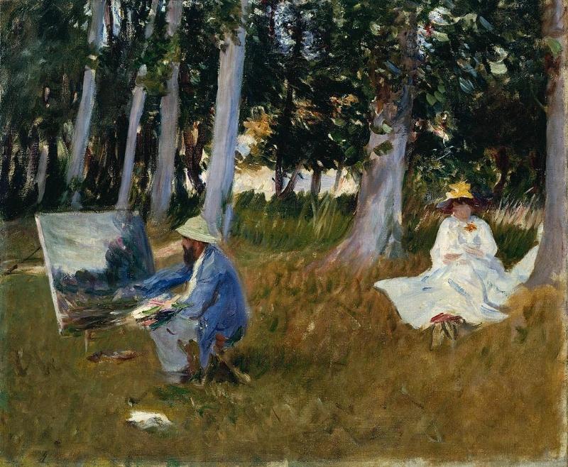 Claude Monet Painting by the Edge of a Wood .  en:1885 .  en:John Singer Sargent . Oil on canvas. 54.0 x 64.8 cm.  en:Tate Gallery ,  en:London .