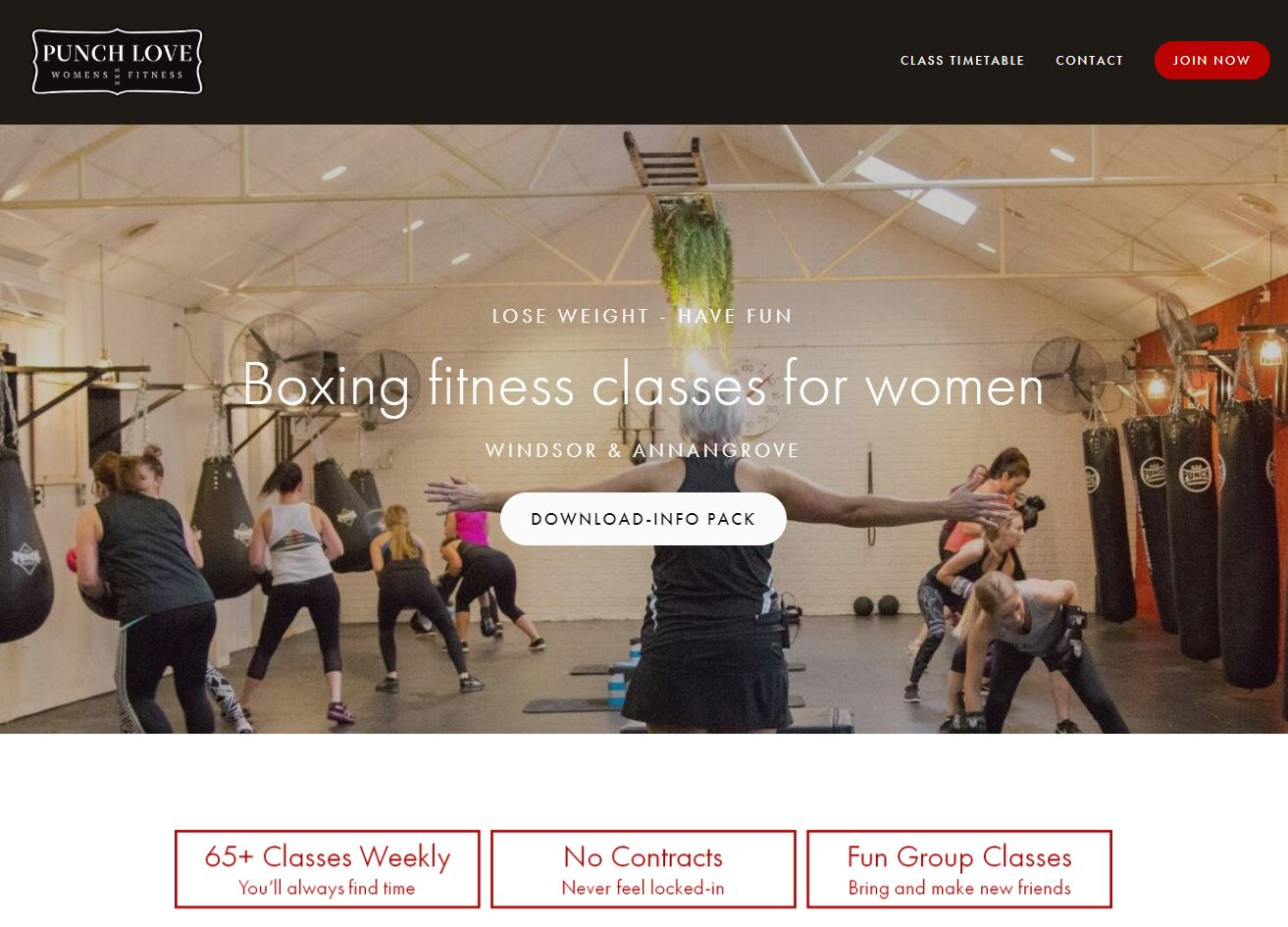 Gym and Fitness StoryBrand Website Example : Punch Love Womens Fitness