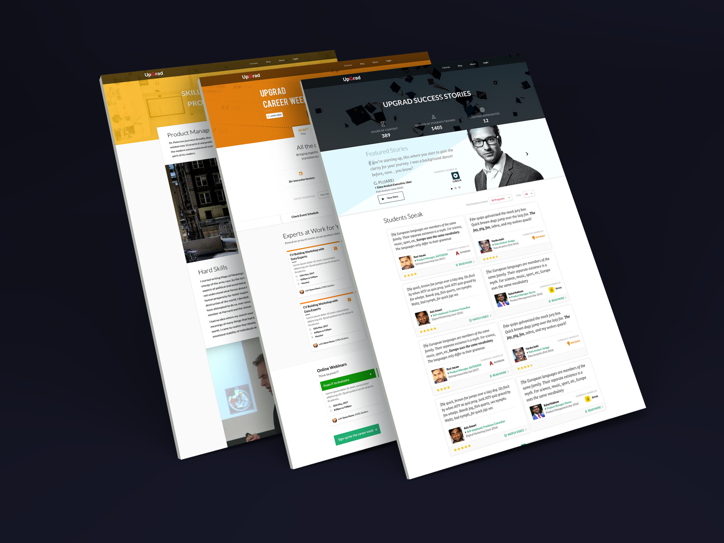 UpGrad Pages - A few stand-alone screens designed for UpGrad.More Details➝